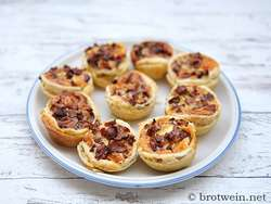 Pfifferlinge Quiches mit Blätterteig als Mini-Quiches